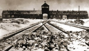 Death camp: Auschwitz, where tens of thousands of slave labourers died working in a factory run by German firm I. G. Farben